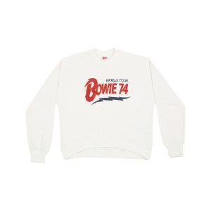Bowie 74 World Tour Logo White Crewneck Sweatshirt