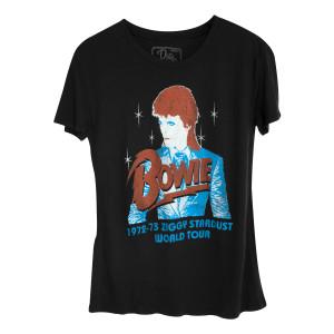 David Bowie 73 Ziggy Tour Juniors Vintage T-shirt Black