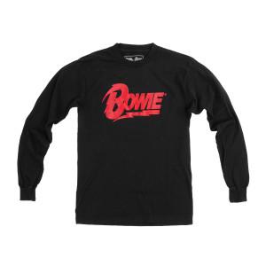 Black Long Sleeve Bowie Logo Glitter T-shirt