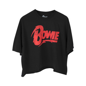 David Bowie Red Bowie Text Black T-Shirt