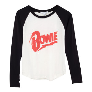 Red Bowie Text White T-Shirt