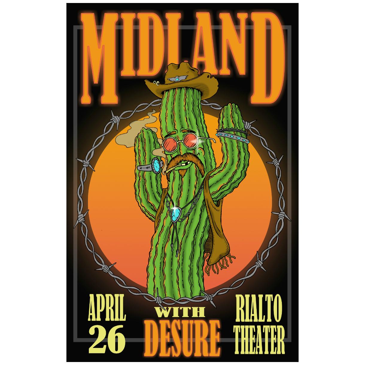 Rialto Theatre Dancing Cactus Lithograph