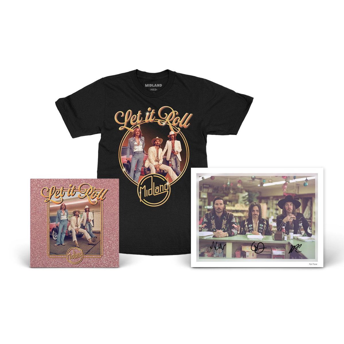 Let It Roll Album, Signed Lithograph, & T-Shirt Bundle