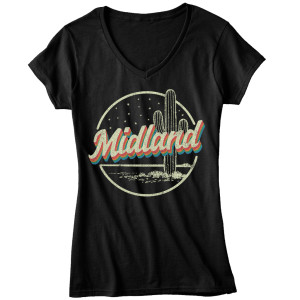 Midland Cactus Black V-Neck T-Shirt