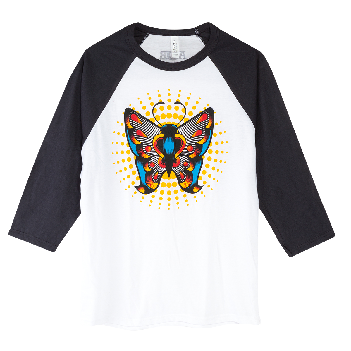 3/4 Sleeve Butterfly - White w/ Grey Shirt