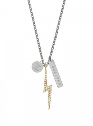 The Breaker Lightning Bolt Silver Necklace