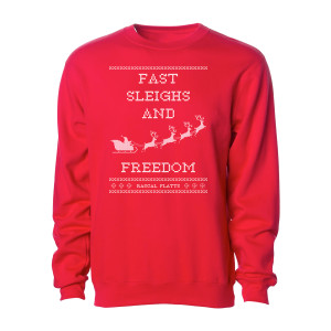 Fast Sleighs and Freedom Red Holiday Crewneck