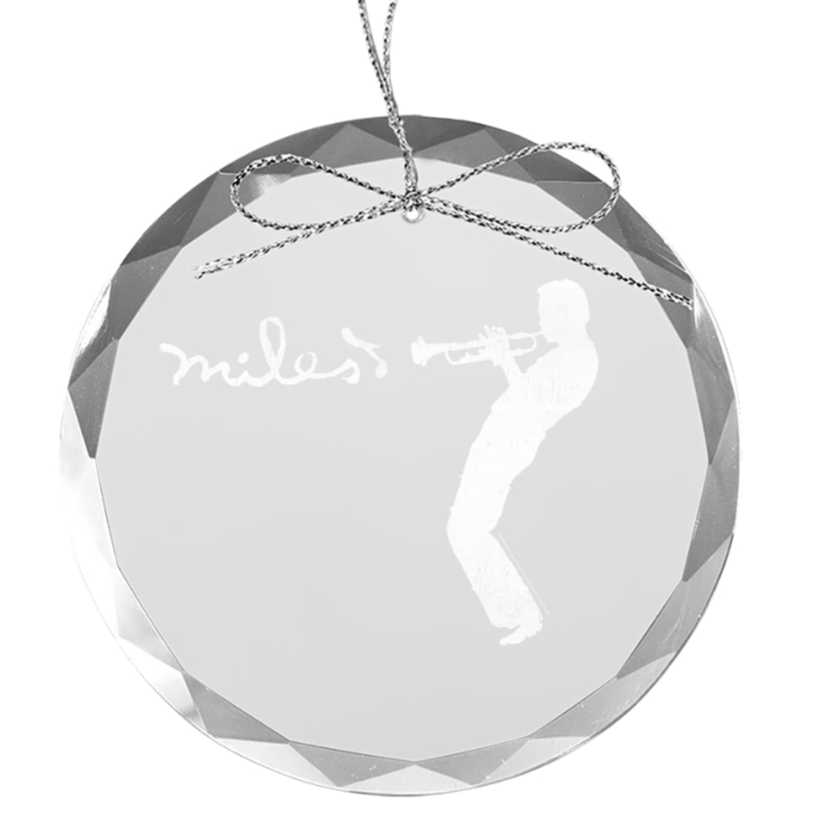 Silhouette Round Laser-Etched Glass Ornament
