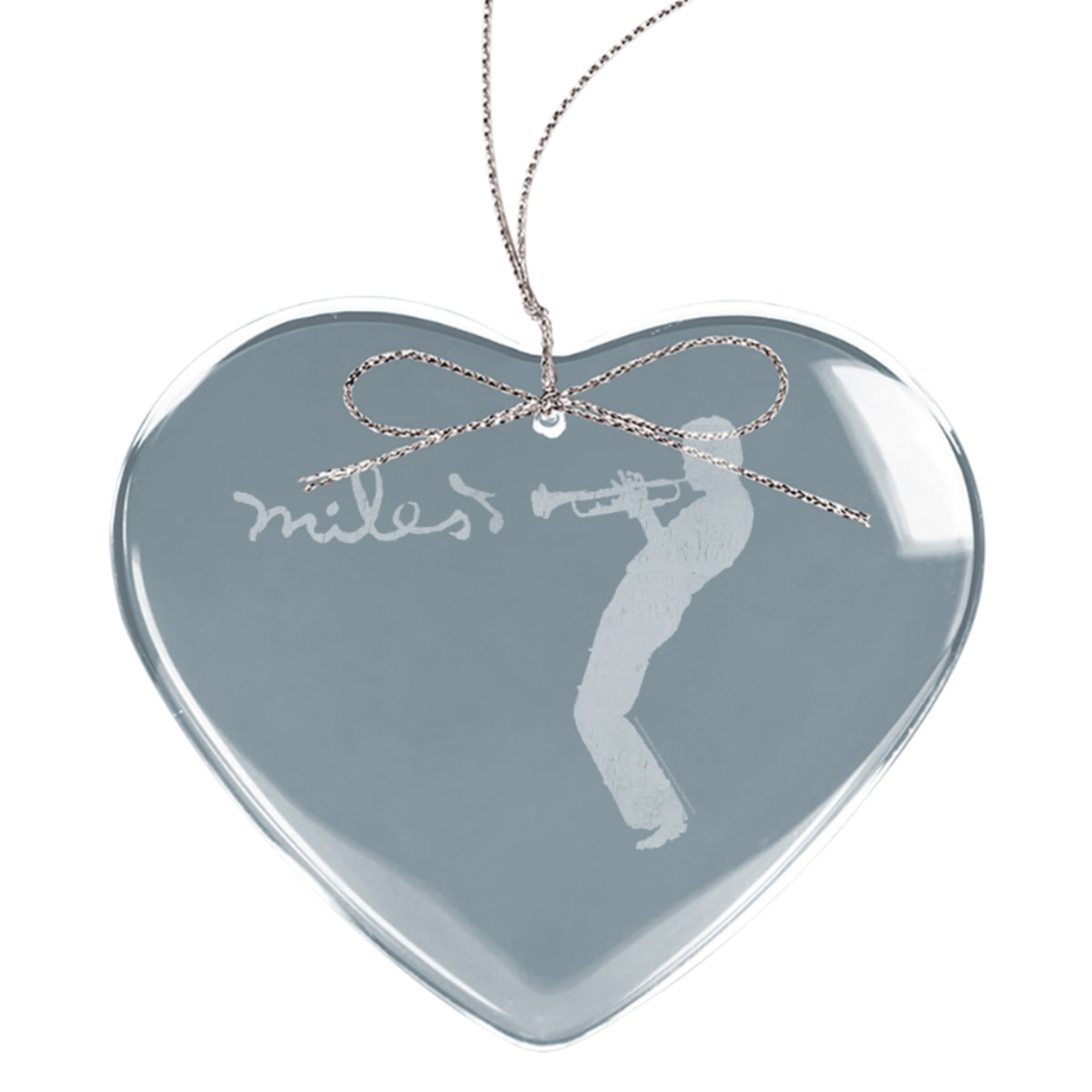 Silhouette Heart Laser-Etched Glass Ornament