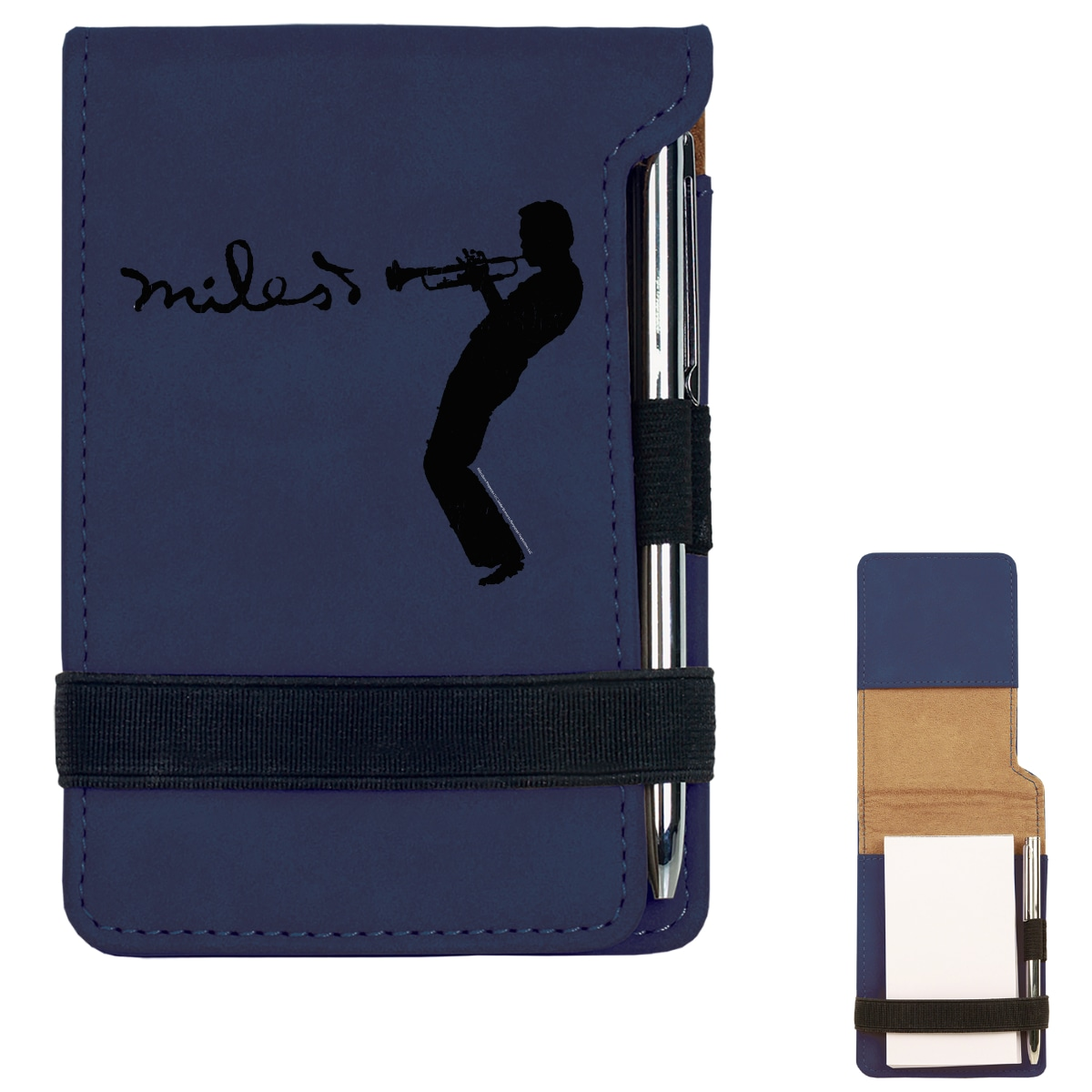 Blue Laser Engraved Silhouette Notepad w/Pen
