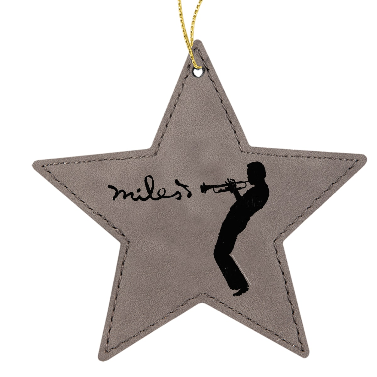 Silhouette Grey Star Leatherette Ornament