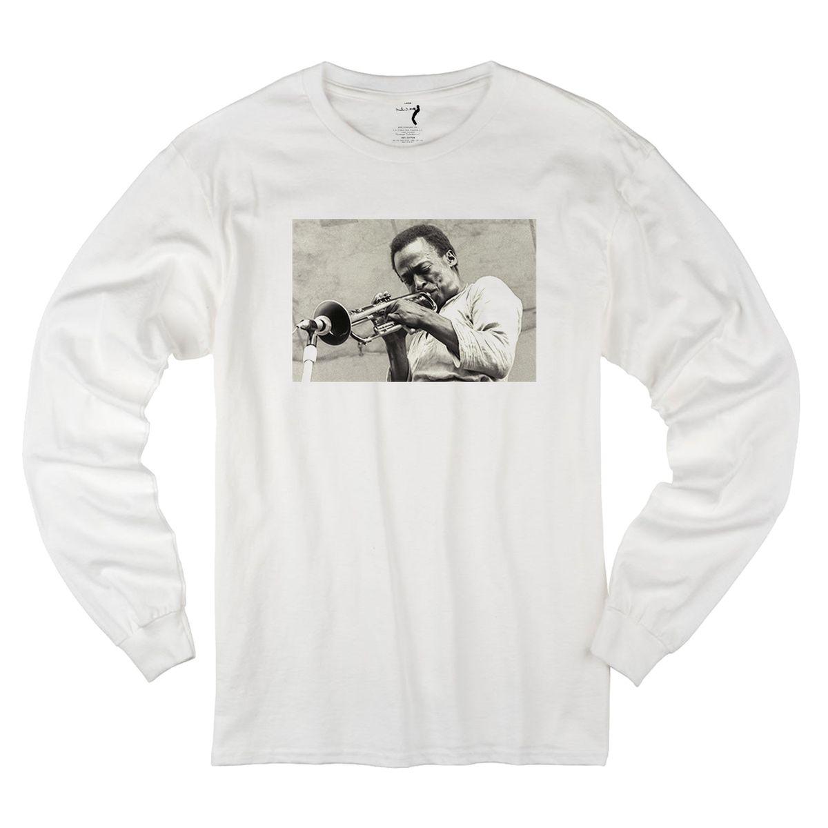 Miles Davis Central Park 1970 White Long Sleeve T-shirt