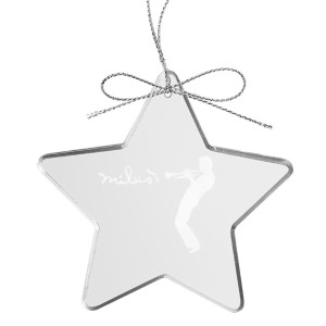 Silhouette Star Laser-Etched Glass Ornament