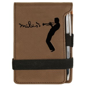 Brown Laser Engraved Silhouette Notepad w/Pen