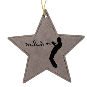 Silhouette Grey Star Leatherette Ornament