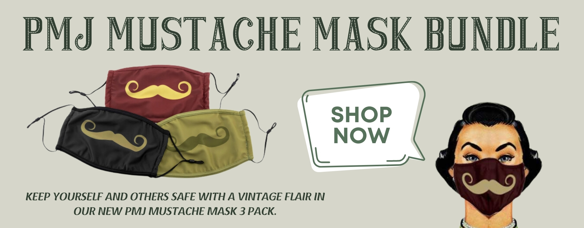 Shop PMJ Mustache Masks