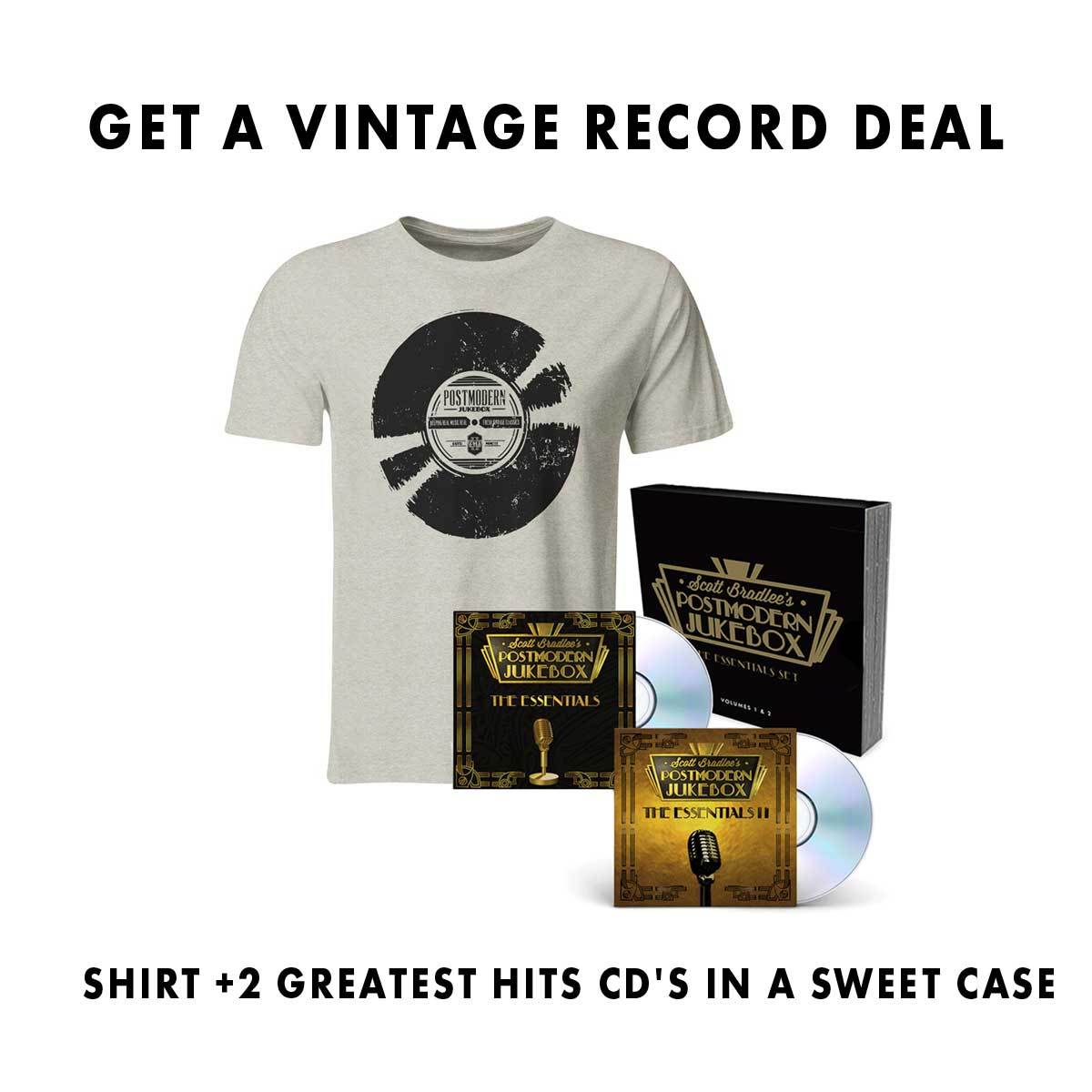 Vintage Record T-Shirt + Essentials CD Bundle