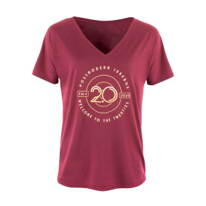 Welcome to the Twenties 2.0 Maroon Ladies V-Neck T-Shirt