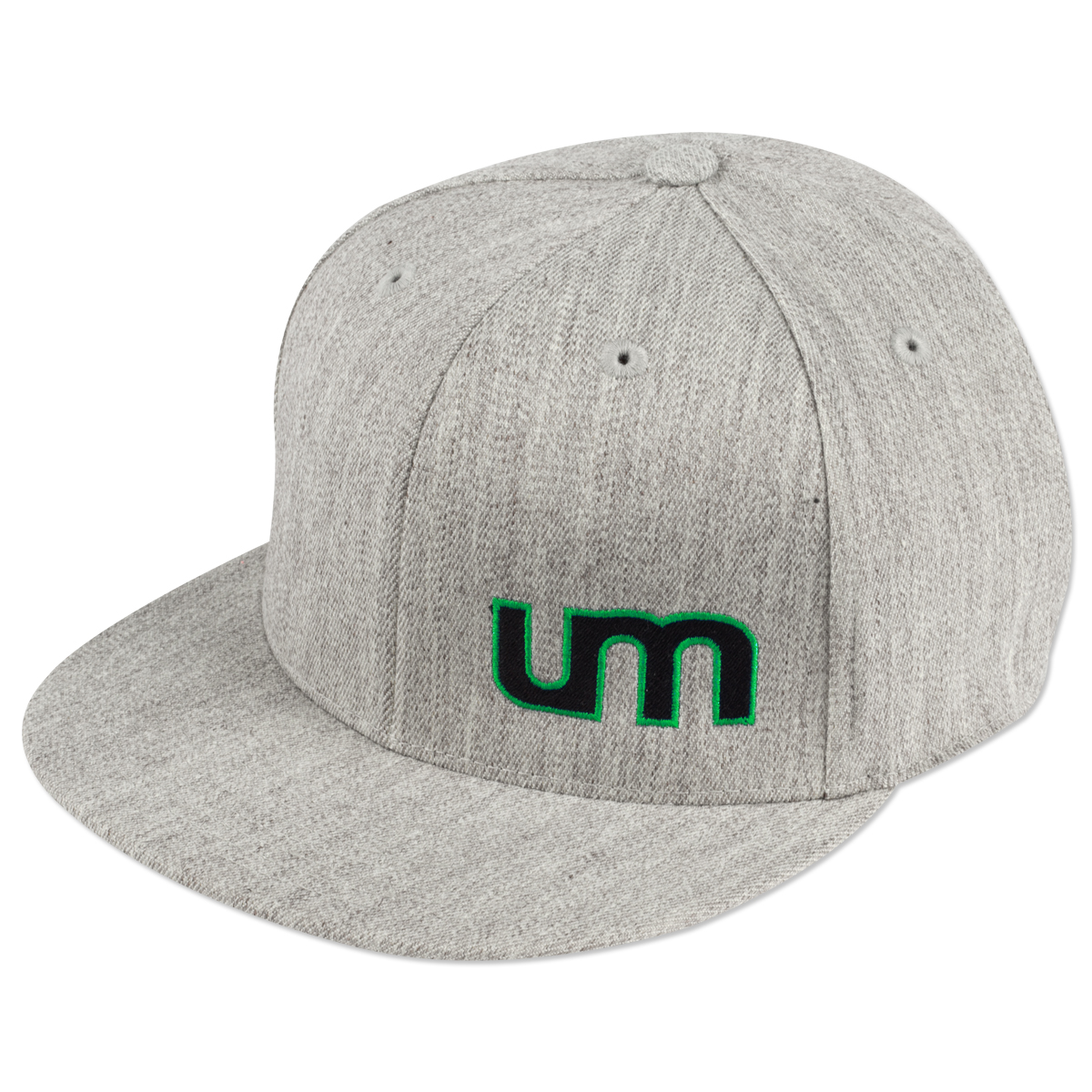 UM Heather Gray Logo Flat Brim Cap