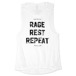 Ladies Rage Rest Repeat Foil Tank