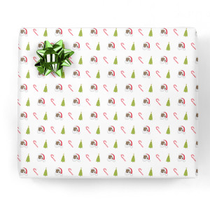Clarence Claus Candy Canes & Trees Gift Wrap