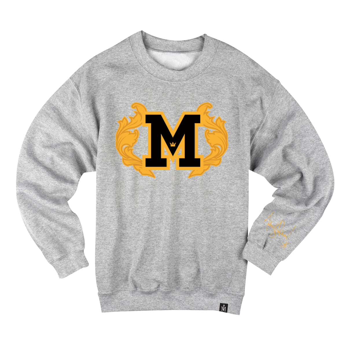 M Patch Crewneck with Embroidered Scrolls