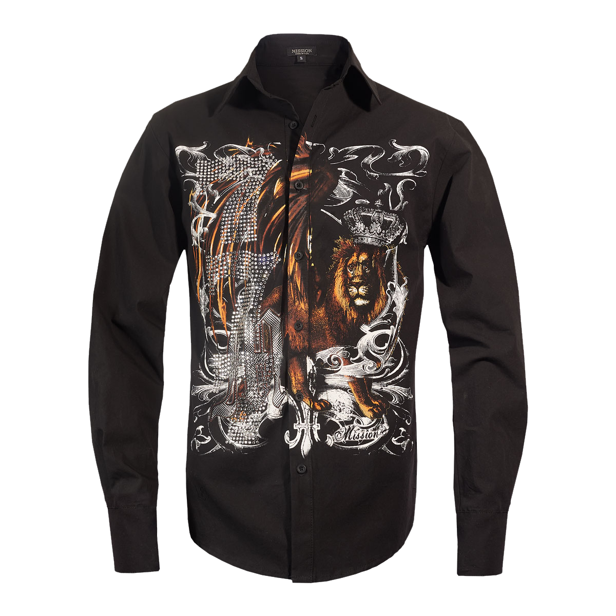 Michael Jackson x Mission Crystal Lion Long Sleeve Shirt - Black