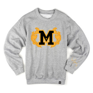 M Patch Crewneck With Embroidered Scrolls Shop The Michael Jackson