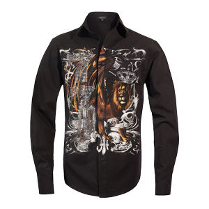 Michael Jackson x Mission Crystal Lion Long Sleeve Shirt - Black
