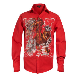 Michael Jackson x Mission Crystal Lion Long Sleeve Shirt - Red