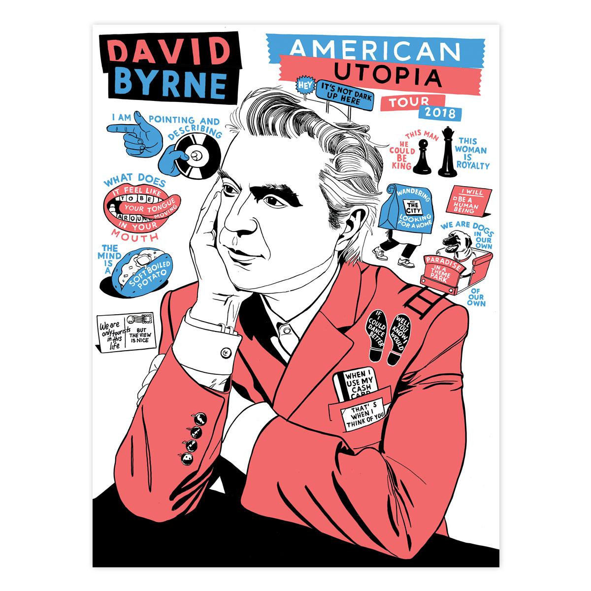 David Byrne 2018 Tour Poster