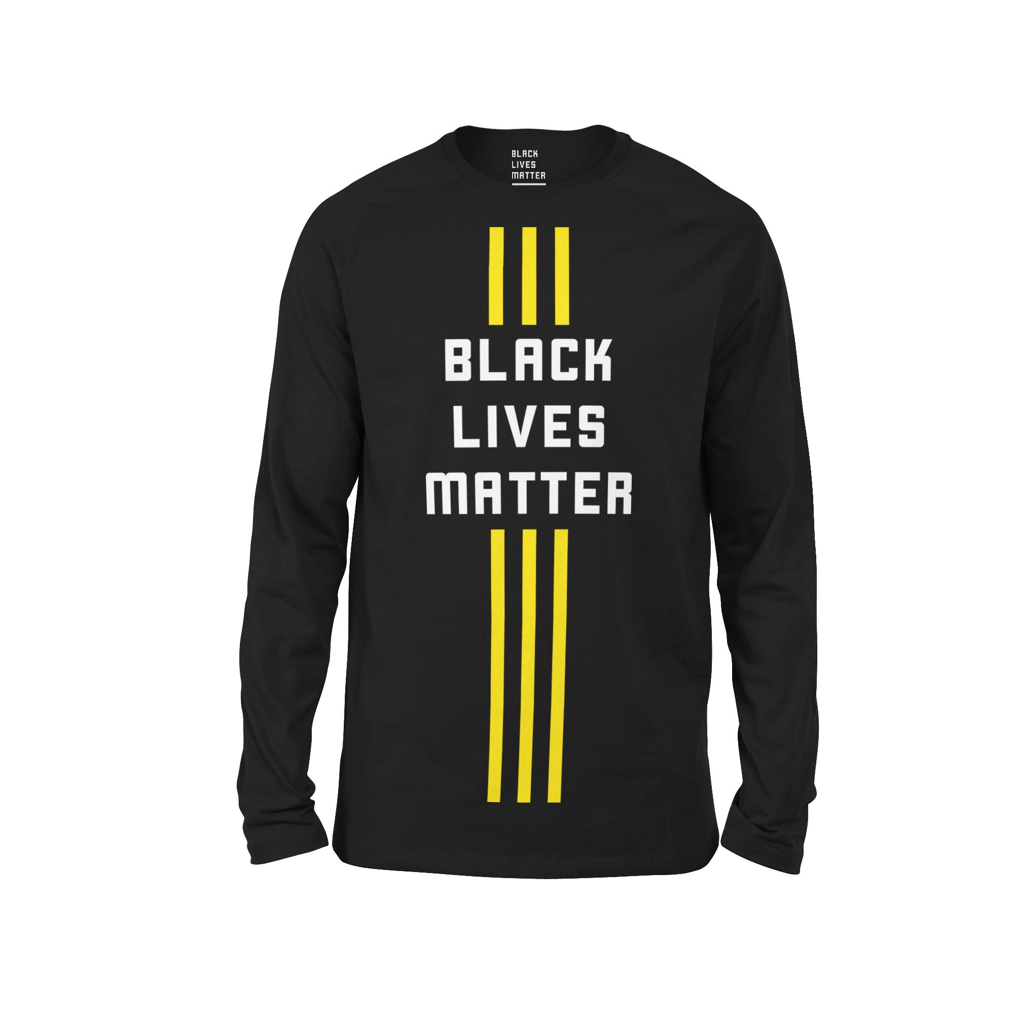 Black BLM 3 Stripe Streak LS Tee (Vertical)