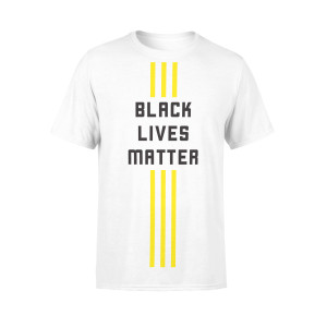 White BLM 3 Stripe Streak Tees (Vertical)