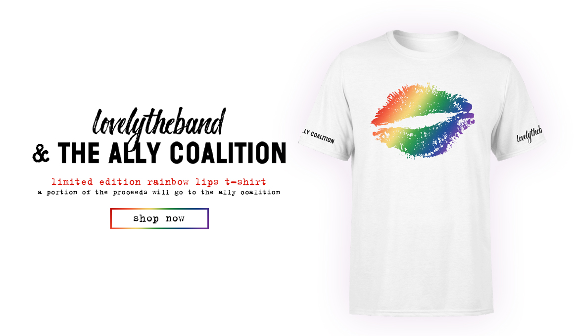 Shop lovelytheband & the Ally Coalition's Limited Edition Rainbow Lips T-Shirt Here!