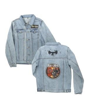 Bat Out Of Hell Men's Biker Art Denim Jacket