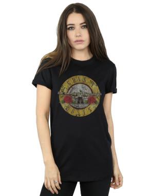 Guns N Roses Women's Vintage Bullet Logo Boyfriend Fit T-Shirt