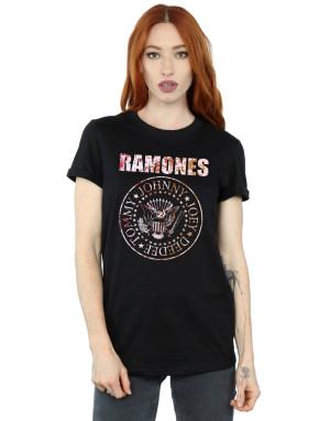 Ramones Women's Flower Rose Boyfriend Fit T-Shirt