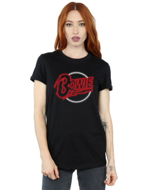 David Bowie Women's Neon Logo Boyfriend Fit T-Shirt
