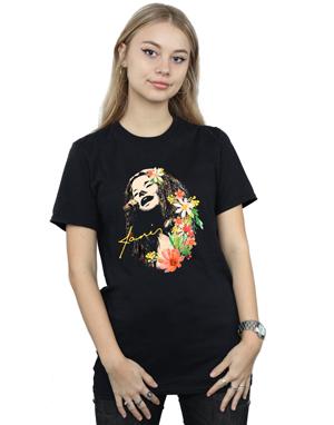 Janis Joplin Women's Floral Pattern Boyfriend Fit T-Shirt