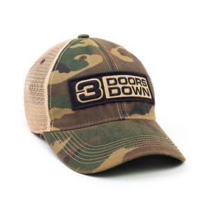 3 Doors Down Logo Camo Trucker