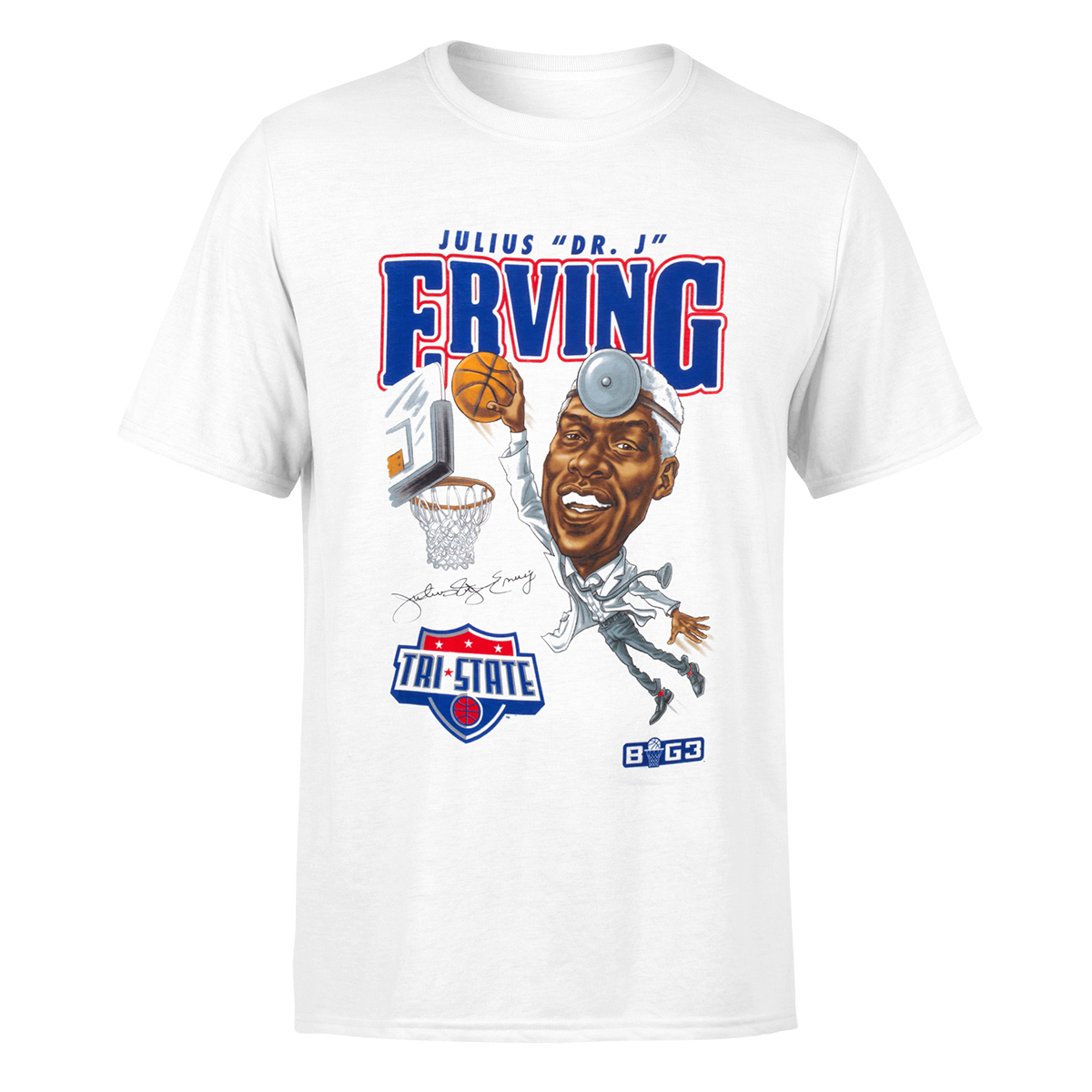 Dr. J Caricature White T-Shirt