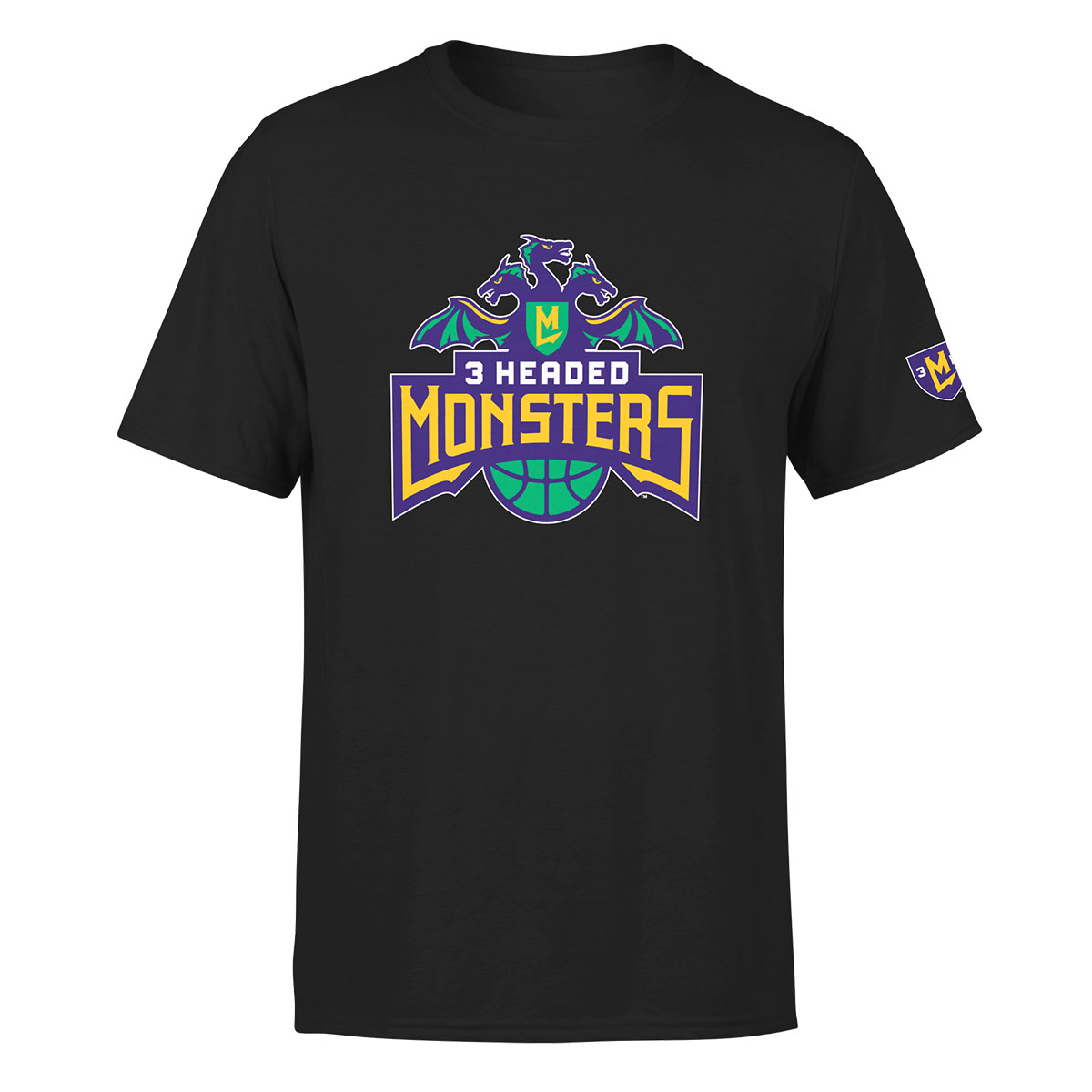 BIG3 3 HEADED MONSTER BLACK T-SHIRT