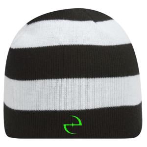 E Logo Striped Beanie
