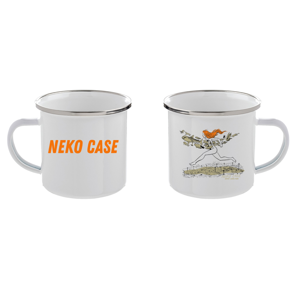 Neko On The Run 12 oz. Enamel Mug