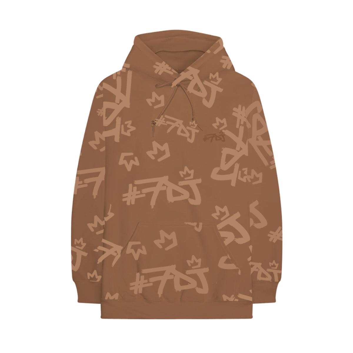#7DJ Tan Logo All-Over Hoodie