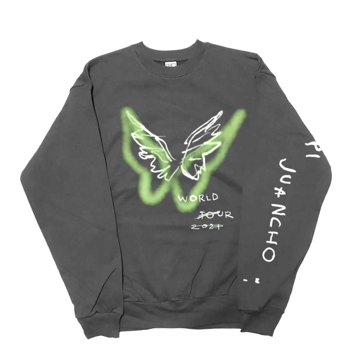 Maluma Papi Juancho Wings Charcoal Crewneck Sweatshirt