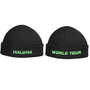 Maluma World Tour Fishermen Black Beanie - Green Embroidery