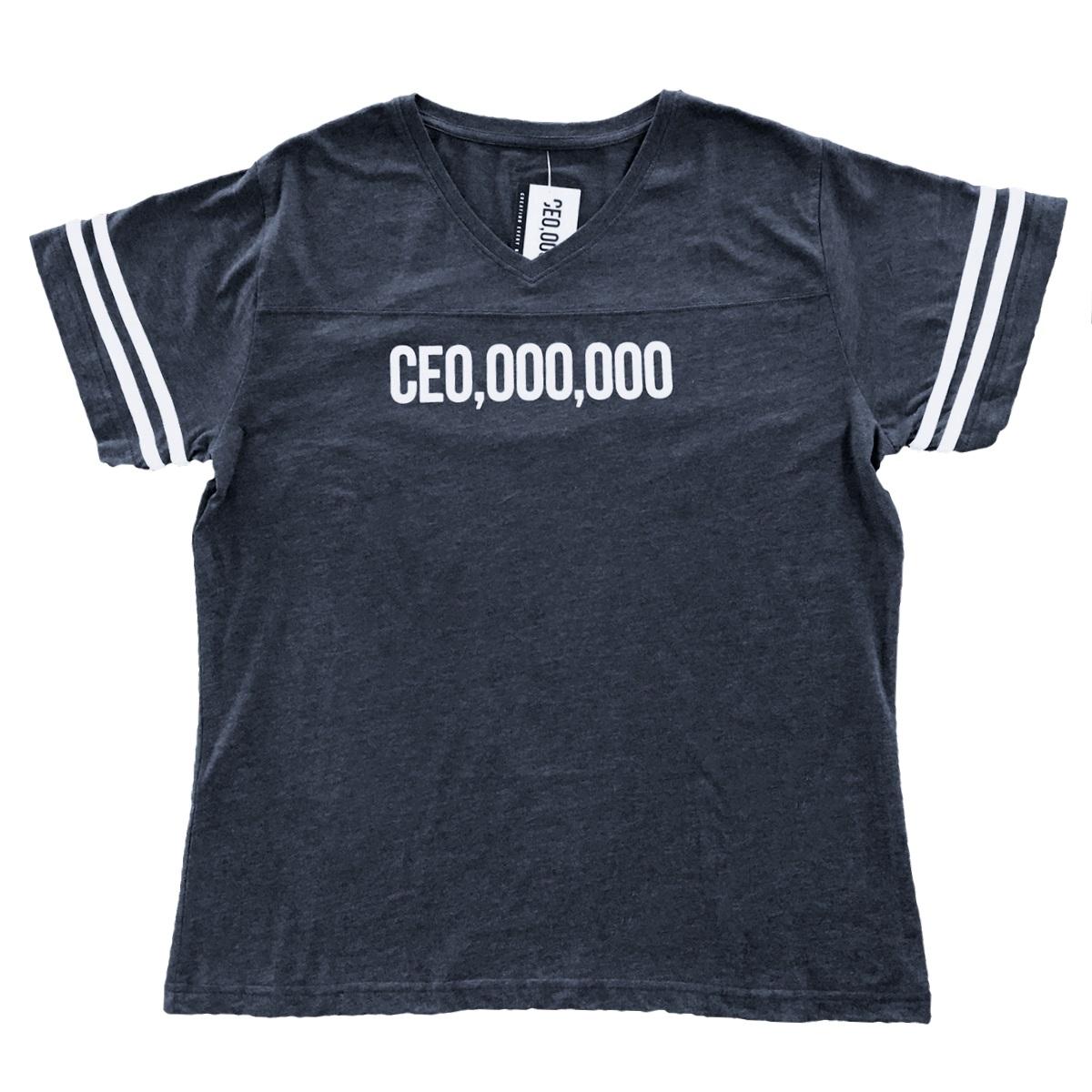 $CE0,000,000 Football T-Shirt [Heather Navy]