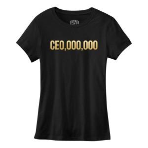 $CE0,000,000 Gold Print Women's T-Shirt [Black]