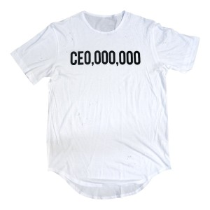 $CE0,000,000 Elongated Distressed T-Shirt [White]